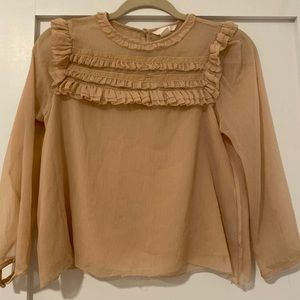 H&M 3/4 Sleeve Blush Blouse with Ruffle